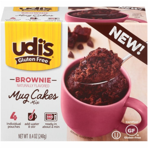 Udi's Gluten Free Brownie Mug Cakes Mix 4 Count Perspective: front