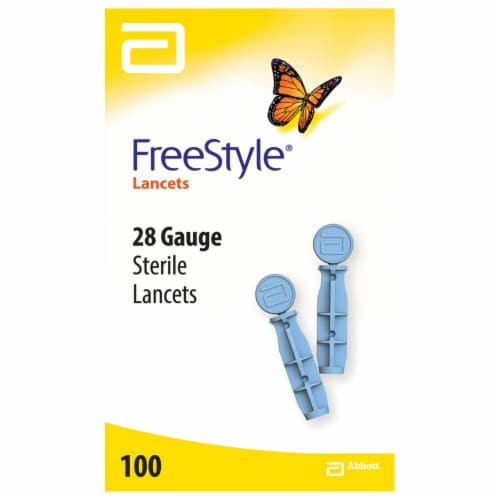 FreeStyle® Sterile 28 Gauge Lancets Perspective: front