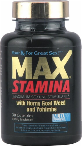 M.D. Science Lab MaxStamina™ with Horny Goat Weed and Yohimbe Perspective: front