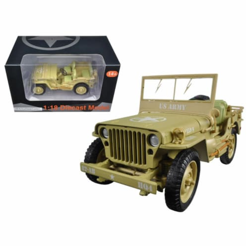 American Diorama 77408 1 by 18 Scale Diecast US Army WWII Jeep Vehicle Desert Color Model Car Perspective: front