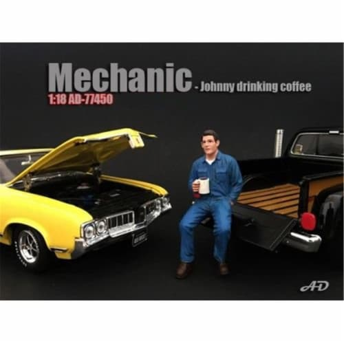 American Diorama 77450 Mechanic Johnny Drinking Coffee Figurine for 1 isto 18 Models Perspective: front