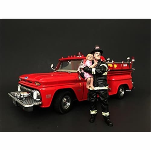 American Diorama 77460 Firefighter Saving Life with Baby Figurine for 1 isto 18 Models Perspective: front