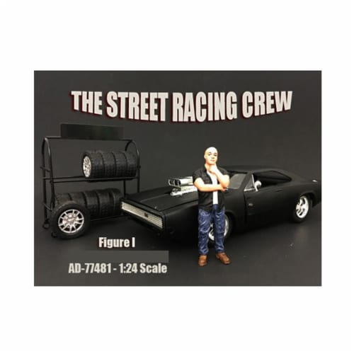 American Diorama 77481 The Street Racing Crew Figure I for 1 isto 24 Diecast Model Car Perspective: front
