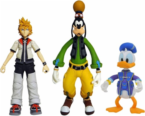 Disney Kingdom Hearts Series 2 Select: Roxas, Donald Duck, & Goofy 3-Pack Perspective: front