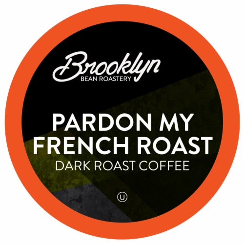 Brooklyn Beans Dark Roast Coffee Pods, Pardon My French Roast, Four-24 Count Boxes Perspective: front