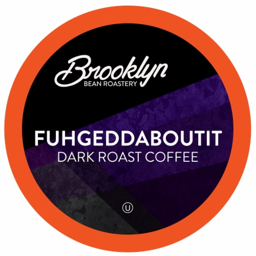 Brooklyn Beans Dark Roast Coffee Pods, Extra Bold Fuhgeddaboutit, Four-24 Count Boxes Perspective: front