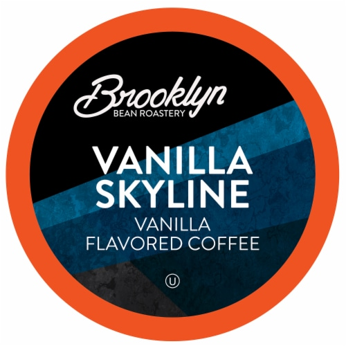 Brooklyn Beans Vanilla Flavored Coffee Pods, Vanilla Skyline, Four-24 Count Boxes Perspective: front