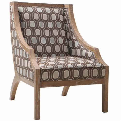 Armen Living Sahara Solid Wood Accent Chair In Multi-Colored Fabric Perspective: front