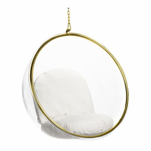 Aron Living 42  Vinyl and Steel Hanging Bubble Chair in Gold Perspective: front