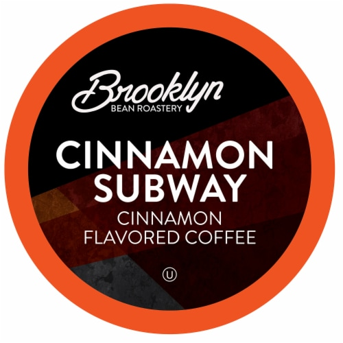 Brooklyn Beans Cinnamon Flavored Coffee Pods,  Cinnamon Subway, Four-24 Count Boxes Perspective: front