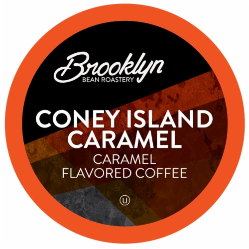 Brooklyn Beans Caramel Flavored Coffee Pods, Coney Island Caramel, Four-24 Count Boxes Perspective: front