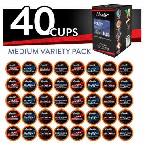 Brooklyn Beans Medium Roast Coffee Pods Variety Pack for Keurig K-Cups Brewer, 40 Count Perspective: front