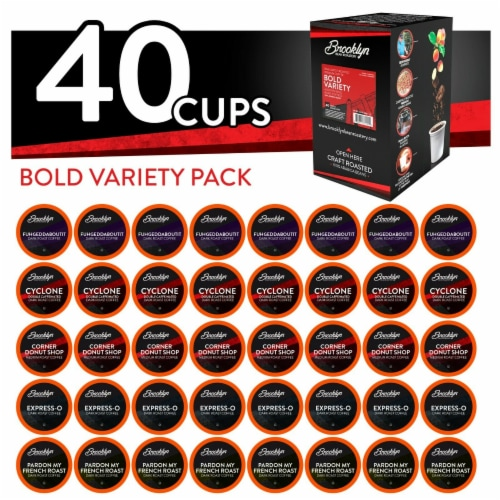 Brooklyn Beans Bold Variety Pack Coffee Pods for Keurig K-Cups Brewer, 40 count Perspective: front