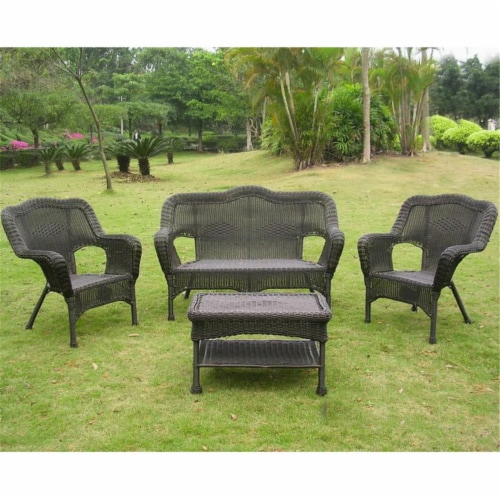 International Caravan 3180-AB Maui Outdoor Seating Group, Antique Black - 4 Piece Perspective: front