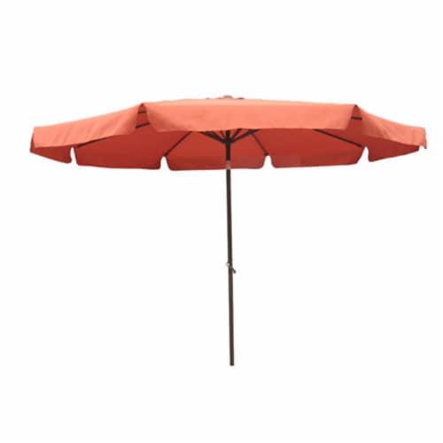 International Caravan 10' Patio Umbrella with Tilt and Crank in Terra Cotta Perspective: front
