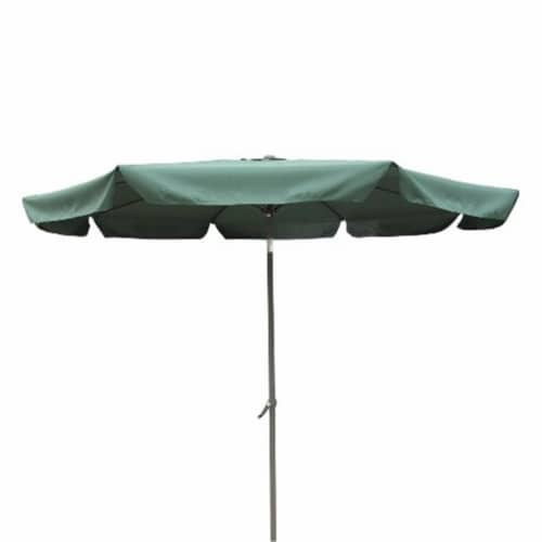 International Caravan YF-1104-3M and FG Outdoor 10 Foot Aluminum Umbrella with Flaps Forest G Perspective: front