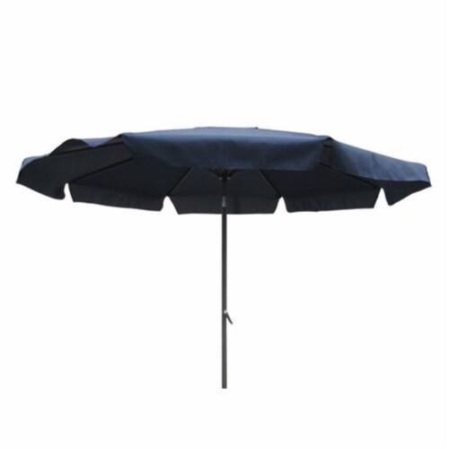 International Caravan YF-1104-3M and NV Outdoor 10 Foot Aluminum Umbrella with Flaps Navy Perspective: front