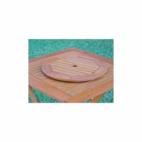 International Caravan TT-LS-001 Royal Tahiti Outdoor 28 in. Round Lazy Susan with Umbrella Ho Perspective: front