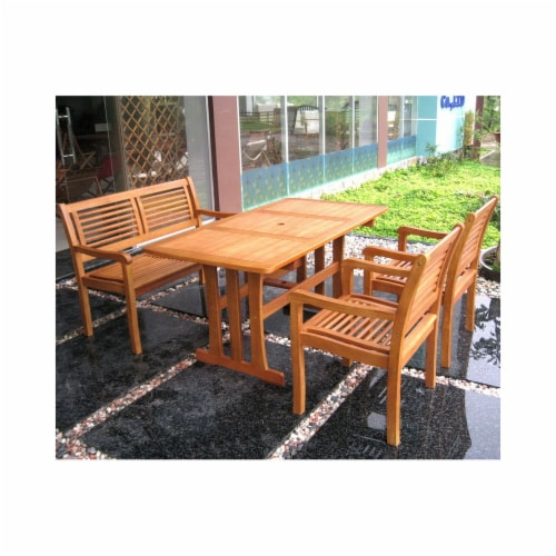 International Caravan RE-07-2B-52-1B-51-2CH Royal Tahiti Mallorca Patio Set, Stain - 5 Piece Perspective: front