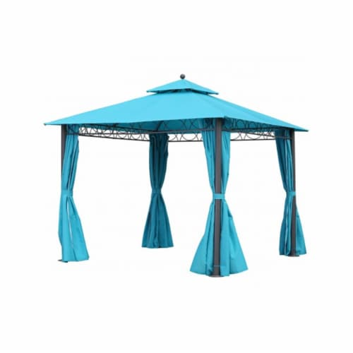 International Caravan YF-3290-AB 10 ft. Square Double Vented Gazebo with Drapes, Aqua Blue & Perspective: front
