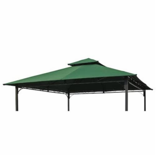 International Caravan YF-3136B-CNP- FG 10 ft. Gazebo Canopy St. Kitts Replacement Top, Dark G Perspective: front