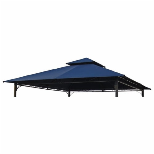 International Caravan YF-3136B-CNP- NV 10 ft. Gazebo Canopy St. Kitts Replacement Top, Navy Perspective: front