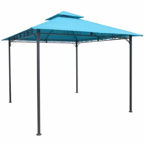 International Caravan YF-3136B-AB Square Vented Canopy Gazebo, Aqua Blue Perspective: front