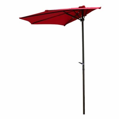 International Caravan YF-1147-2.7M-RR 9 ft. Half Round Wall Hugger Umbrella, Ruby Red Perspective: front