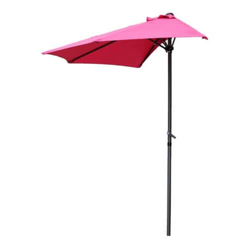International Caravan YF-1147-2.7M-BB 9 ft. Half Round Wall Hugger Umbrella, Bery Berry Perspective: front