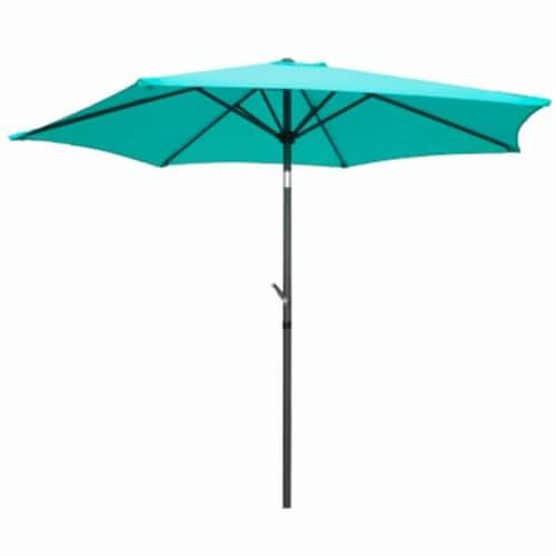Outdoor 8 Foot Aluminum Umbrella - Aqua Blue Perspective: front