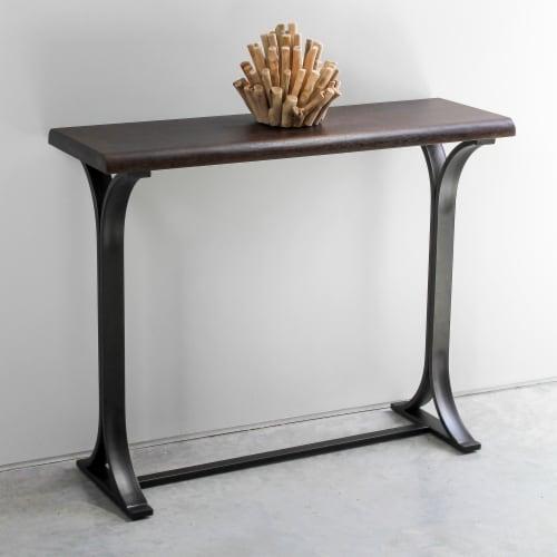 International Caravan Hamburg Wood Console Table in Sonoma Oak Perspective: front