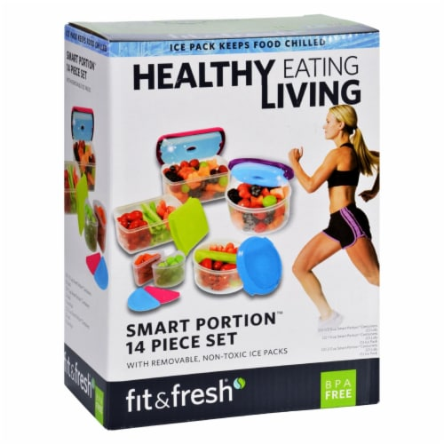 Fit and Fresh Healthy Living Smart Portion Container Set with Removable Ice Packs Perspective: front