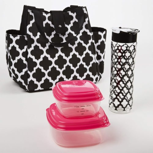 Medport Insulated Designer Lunch Bag Kit with Fresh Selects Container Set Perspective: front