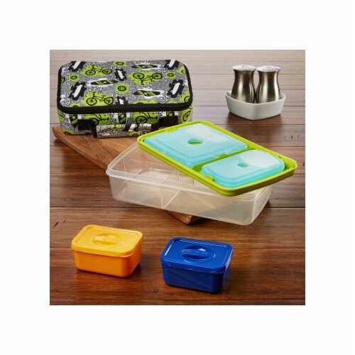 Fit & Fresh 841JL409 Surf Print Bento Lunch Box Set with Insulated Carry Bag, Green Perspective: front