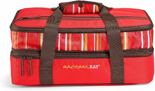 Rachael Ray Expandable Lasagna Lugger - Stripe Red Perspective: front