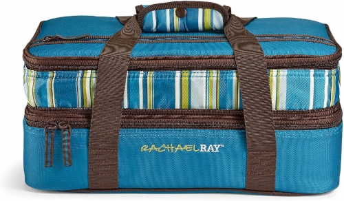 Fit and Fresh Rachael Ray Expandable Lasagna Lugger Stripe - Marine Blue Perspective: front