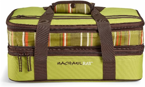 Rachael Ray Expandable Lasagna Lugger - Stripe Green Perspective: front