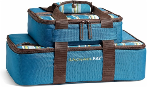 Fit and Fresh Rachael Ray Lasagna Lugger Set - Marine Blue Stripe Perspective: front