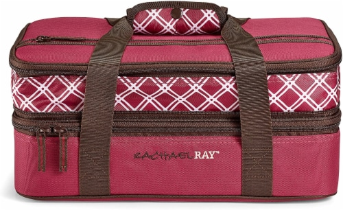 Rachael Ray Expandable Lasagna Lugger - Plaid Burgundy Perspective: front