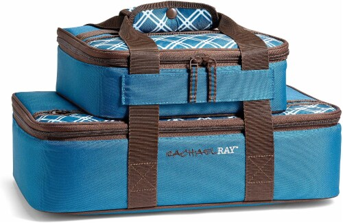 Rachael Ray Lugger Duo - Small Bias Plaid Marine Blue Perspective: front
