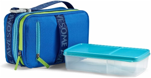 Fit and Fresh Expandable Bento Lunch Kit - Blue Awesome Perspective: front