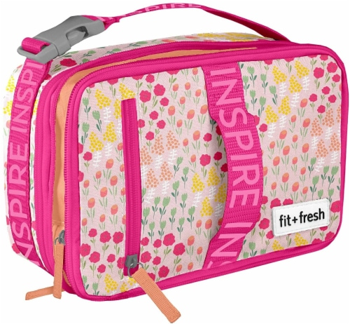 Fit and Fresh Expandable Bento - Wildflower Meadow Pink Perspective: front