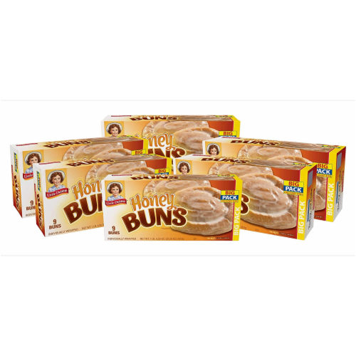 Little Debbie Honey Buns, 6 Big Pack Boxes, 54 Individually Wrapped Pastries Perspective: front