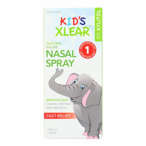 Xlear Kid's All-Natural Saline with Xylitol Nasal Spray Perspective: front
