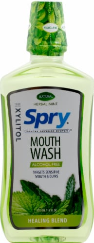 Xlear  Spry® Mouth Wash Healing Blend Alcohol-Free   Herbal Mint Perspective: front