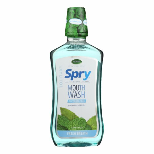 Spry® Mountain Mint Alcohol-Free Mouthwash Perspective: front