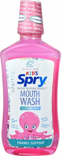 Xlear  Kids Spry® Mouth Wash with Xylitol   Bubble Gum Perspective: front