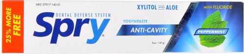 Xlear  Spry® Anti-Cavity Toothpaste Xylitol and Aloe wth Fluoride   Peppermint Perspective: front