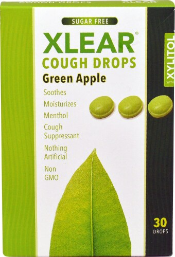 Xlear  Sugar Free Cough Drops with Xylitol   Green Apple Perspective: front