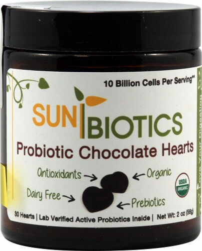 Sunbiotics Probiotic Chocolate Hearts 30 Count Perspective: front